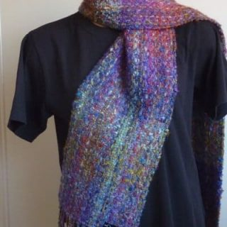 Keith terry Hand-woven scarf 40% wool, 30% kid mohair, 20% silk, 10% nylon