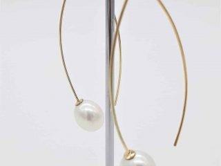 9ct Yellow Gold Long Elegant Pearl Earrings