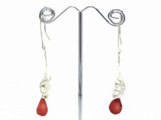 Silver coral and seed pearls earrings by Kate Brown. Fine silver. Please feel free to contact us for more information.