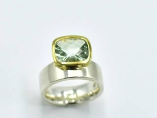 offset Green Amethyst ring