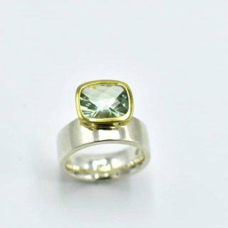 offset Green Amethyst ring