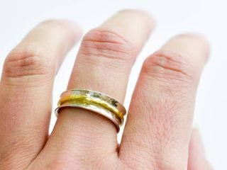 Silver and Gold Hammer Textured Ring