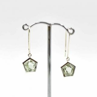 Crystal House Earrings with Green Amethyst