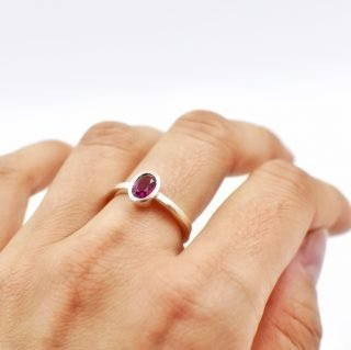 Simple Rhodolite Ring