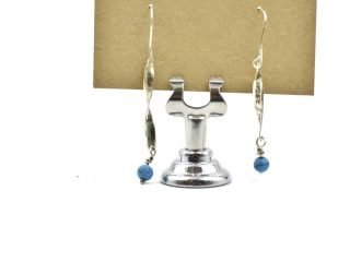 Silver Earrings with Blue Beads