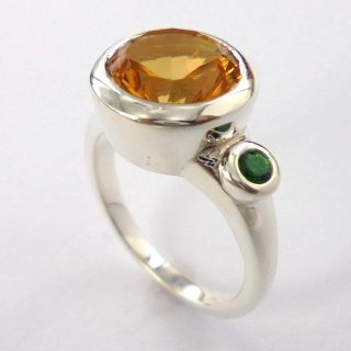 Citrine and Accent Sapphire Ring