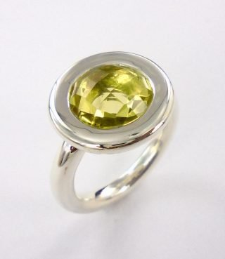 Halo Ring with Lemon Quartz