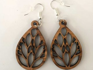 Leaf Lasercut Wood Earrings