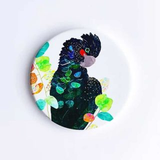 Red-Tailed Black Cockatoo Ceramic Coaster