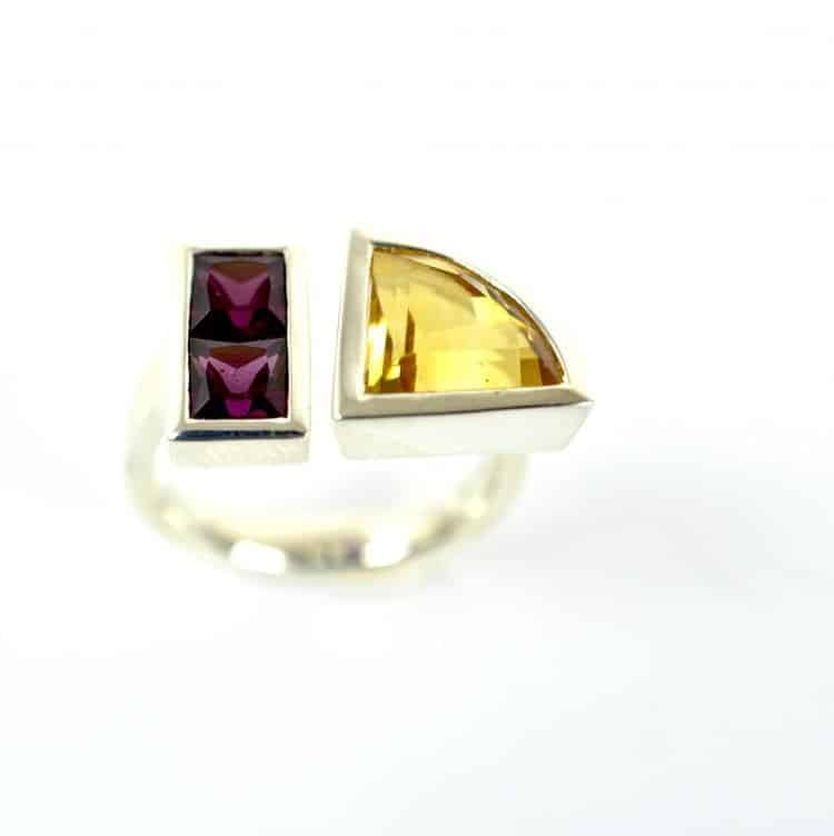 2 stone Open Band Ring with Citrine & Garnet