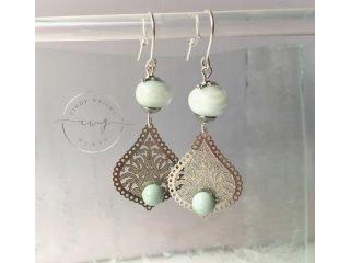 Argentium Earrings Aqua