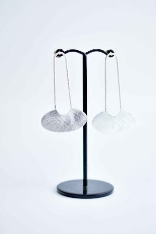 Brushed basket earrings