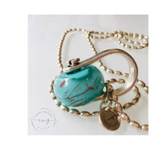 Silver Shackle Glass Pendant Teal