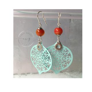 Argentium Earrings Mystic Orange