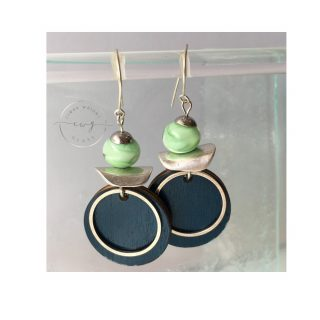 Argentium Earrings Green and Blue