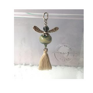 Lampwork Glass Bead Angel Olive Green