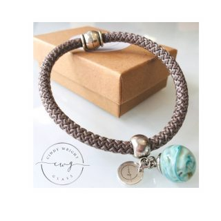 Rope Bracelet Aqua on Beige