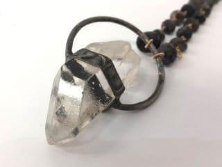 Quartz Pendant & Blue Labradorite Necklace