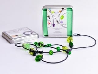 Necklace with Glass Beads in Green