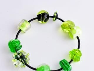 Bracelet with Glass Beads in Green