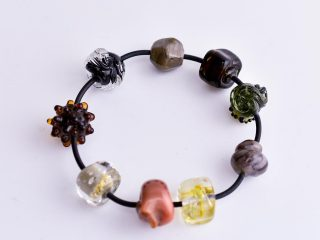 Bracelet with Glass Beads in Brown