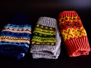 Ladies Fairisle Fingerless Mittens
