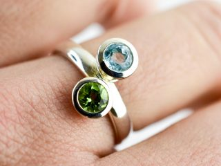 Peridot and Topaz Double Stone Ring