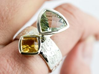 Green Amethyst and Citrine Pattern Ring
