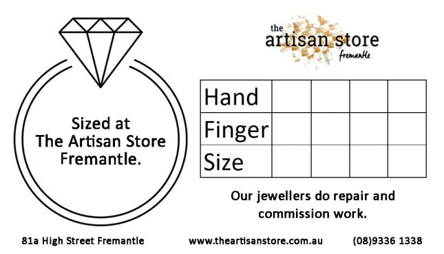 Your personal Ring Size Card