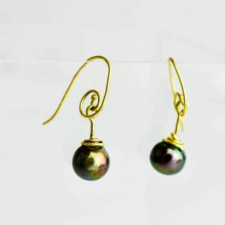 Celtic Tahitian Pearl Earrings