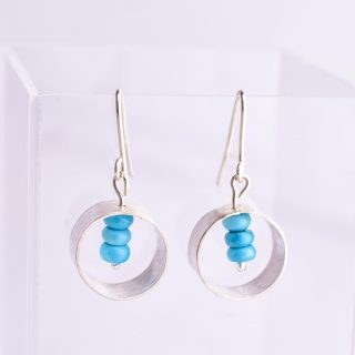 Sterling Silver and Hidden Turquoise Earrings