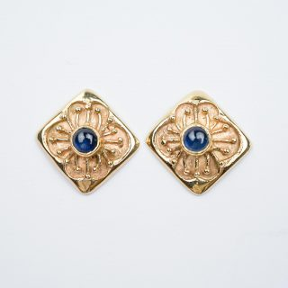 Square Studs with Sapphires