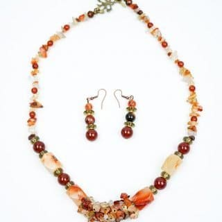Carnelian and Smokey Quartz Necklace and Earrings
