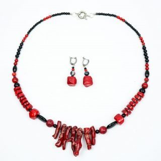 Coral and Black Onyx Necklace and Earrings