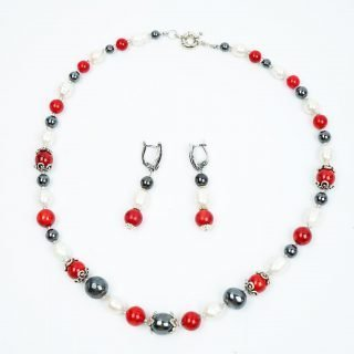 Freshwater pearls, coral, and haematite