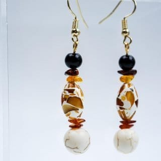 Amber Drop Earrings with Howlite Ball