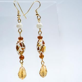 Amber Drop Earrings with Amber Chips in Epoxy Matrix