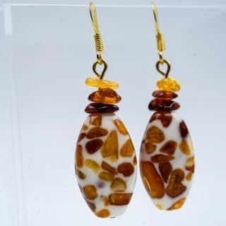 Amber Earrings with Epoxy Mounted Amber Chips