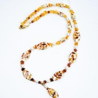 Amber Necklace with Epoxy Mounted Amber Chips
