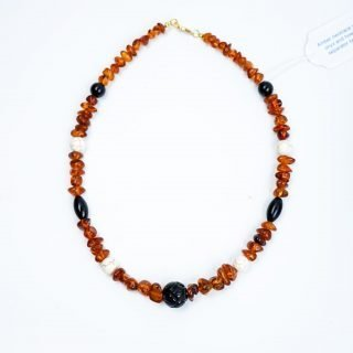Amber Necklace with Onyx and Howlite Separator Beads