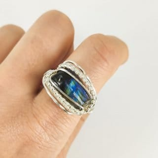 Labradorite Handcrafted Sterling Silver Wire Wrapped Ring