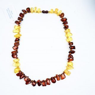 Necklace of Two Colours of Natural Amber